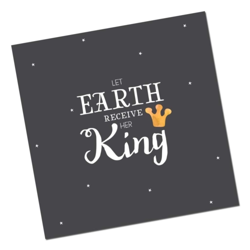 Christelijke Kerstkaart Let earth receive her King